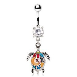 Piercing nombril tortue multicolore (122)