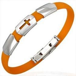Bracelet caoutchouc 04 - Orange croix trois parties