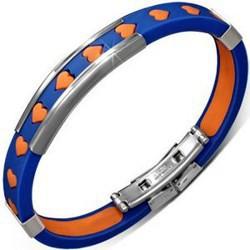 Bracelet caoutchouc 05 - Bleu et orange coeur