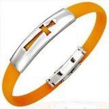 Bracelet caoutchouc 06 - Orange croix simple