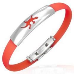 Bracelet caoutchouc 07 - Rouge clair salamandre