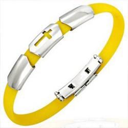 Bracelet caoutchouc 09 - Jaune croix trois parties