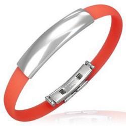 Bracelet caoutchouc 12 - Rouge clair simple