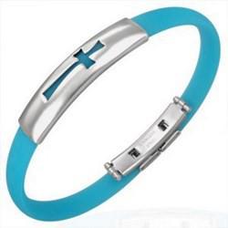 Bracelet caoutchouc 14 - Turquoise croix