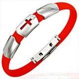 Bracelet caoutchouc 19 - Rouge croix trois parties