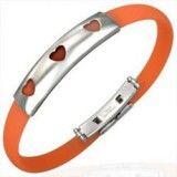 Bracelet caoutchouc 20 - Orange trois coeurs