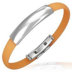 Bracelet caoutchouc 21 - Orange clair simple