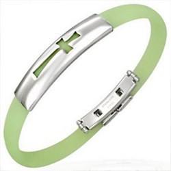 Bracelet caoutchouc 22 - Vert pomme croix