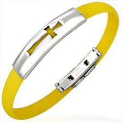 Bracelet caoutchouc 24 - Jaune croix
