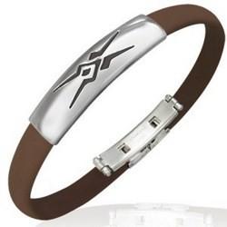 Bracelet caoutchouc 25 - Marron motif tribal