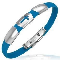 Bracelet caoutchouc 26 - Bleu-clair croix trois parties