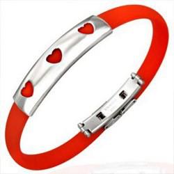 Bracelet caoutchouc 35 - Rouge trois coeurs