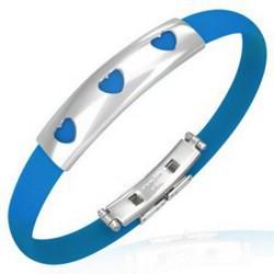 Bracelet caoutchouc 37 - Turquoise trois coeurs