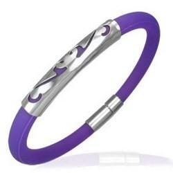 Bracelet caoutchouc 38 - Violet tribal