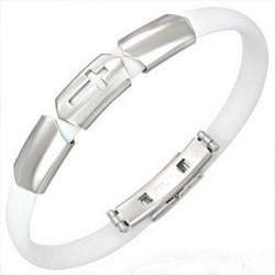 Bracelet caoutchouc 40 - Blanc croix trois parties