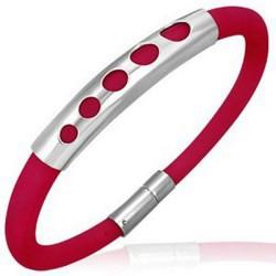 Bracelet caoutchouc 43 - Rouge cinq ronds