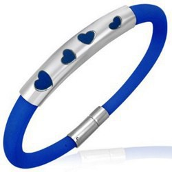 Bracelet caoutchouc 45 - Bleu quatre coeurs