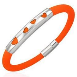 Bracelet caoutchouc 52 - Orange quatre coeurs