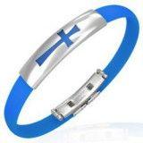 Bracelet caoutchouc 53 - Bleu croix