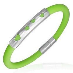 Bracelet caoutchouc 55 - Vert pomme quatre coeurs