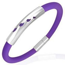 Bracelet caoutchouc 57 - Violet gouttes
