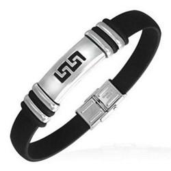 Bracelet caoutchouc 61 - Noir deluxe ligne Grecque