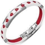 Bracelet caoutchouc 66 - Blanc et rouge coeurs