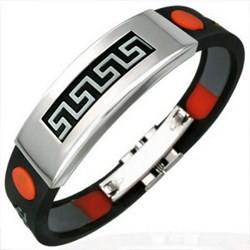 Bracelet caoutchouc 70 - Rouge et noir ligne Grecque