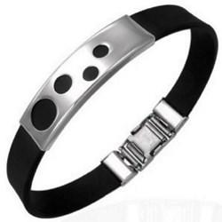 Bracelet caoutchouc 76 - Noir quatre ronds