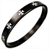 Bracelet jonc 15 - Noir croix de malte