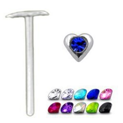 Piercing nez pliable 0.5mm 01 - Coeur strass