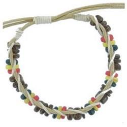 Bracelet surf 06 - Perles bois, vertes jaunes et rouges