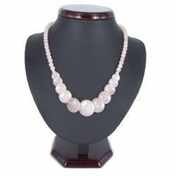 Collier pierre 08 - Cercles en quartz rose