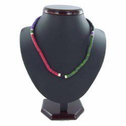 Collier surf 11 - Vert, rose, noir et violet perles en bois