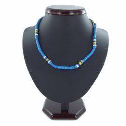 Collier surf 15 - Bleu-clair et jaune perles en bois