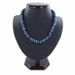Collier surf 17 - Teintes de bleus perles en bois