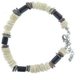 Bracelet surf 08 - Perles noires et blanches