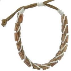 Bracelet surf 09 - Perles cylindriques en bois