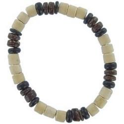 Bracelet surf 12 - Perles blanches et bois