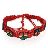 Bracelet surf 13 - Rouge peace and love rasta