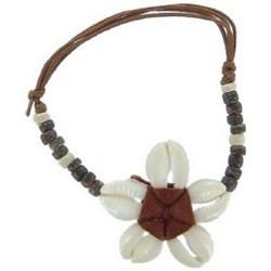 Bracelet surf 21 - Fleur en coquillages centre marron