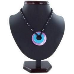 Collier nacre 07 - Cercle bleu-clair et cercle rose