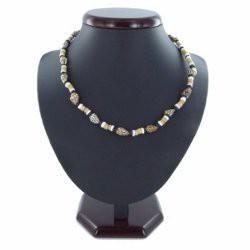 Collier coquillage 14 - Perles marrons et gris