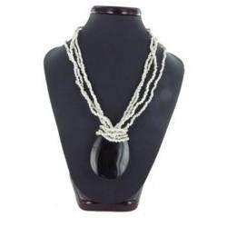 Collier nacre 15 - Ovale noir et perles