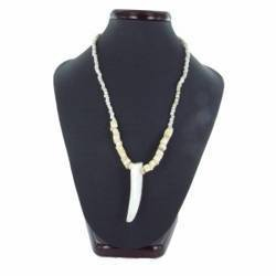 Collier coquillage 17 - Pointe perles blanches