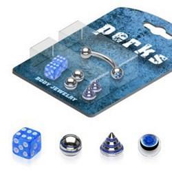 Pack de piercings arcades 09 - Embouts bleus