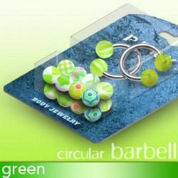 Pack de piercings circulaires 4 - Boules UV vert-pommes
