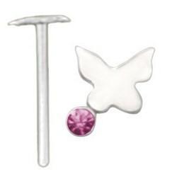 Piercing nez pliable 0.5mm 106 - Papillon strass rose