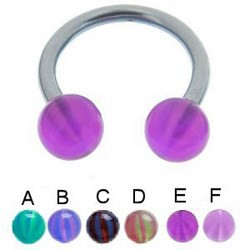 Piercing fer à cheval 50 - UV beach-ball translucide 10mm