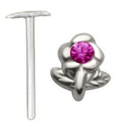 Piercing nez pliable 0.5mm 110 - Fleur strass rose